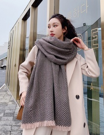 Fashion Brown Herringbone Pattern Short-cut Cashmere Scarf Shawl Dual Purpose
