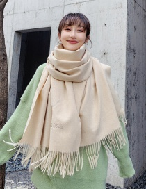 Fashion M Beige Dual-use Embroidery Fawn Shawl Scarf
