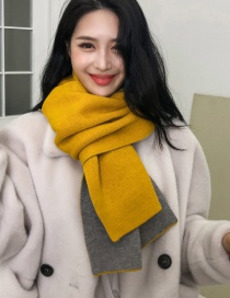 Fashion Yellow Double-faced Cashmere Thick Scarf Shawl