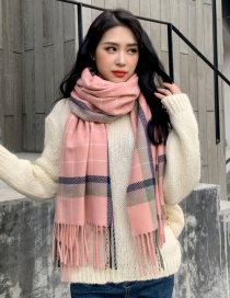 Fashion Pink Grid Sub-thick Scarf Shawl Dual Purpose