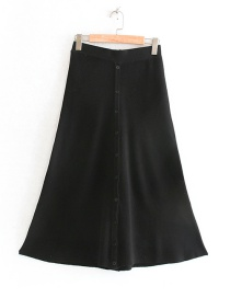 Fashion Black Button Knit Skirt