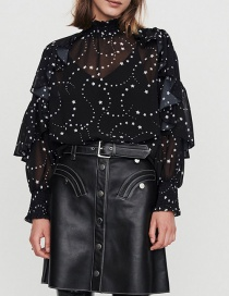 Fashion Black Star Print Ruffled Collar Top