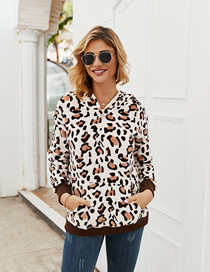 Fashion Coffee Color Leopard Pocket Hooded Plush Sweater
