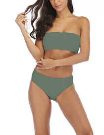 Fashion Green Tube Top High Waist Print Split Swimsuit
