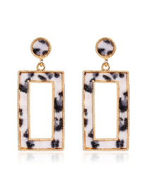 Fashion Black And White Square Leopard Earrings
