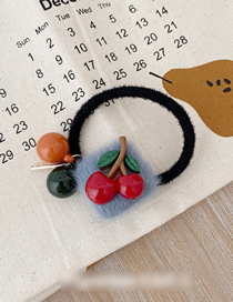 Fashion Red Cherry Imitation Rabbit Hair Button Cherry Hair Rope