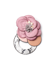 Fashion Pink Flower Geometric Leather Brooch