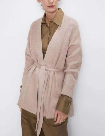 Fashion Sand Color Belted Cardigan