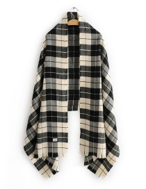 Fashion Black Plaid Plaid Imitation Cashmere Scarf Shawl