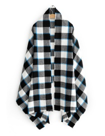 Fashion Black And White Square Plaid Imitation Cashmere Scarf Shawl