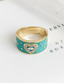 Fashion Lake Blue Copper Inlay Zircon Love Eye Ring