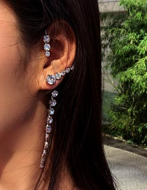 Fashion Silver Single Right Fringed Curved Winding Diamond Earrings