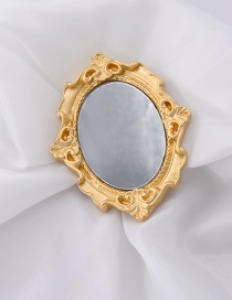 Fashion Gold Carved Mirror Photo Frame Brooch