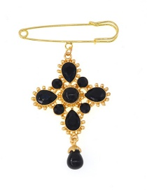 Fashion Black Cross Crystal Brooch