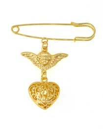 Fashion Gold Geometric Heart Angel Three-dimensional Brooch