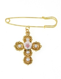 Fashion Gold Cross Brooch