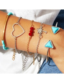 Fashion Gold Turquoise Red Beads Love Triangle Open Bracelet Five-piece