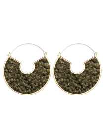Fashion Dark Green Semicircular Filled Plush Digital C-shaped Earrings
