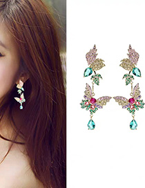 Fashion Color S925 Sterling Silver Needle Micro-inlaid Zircon Butterfly Drop Earrings