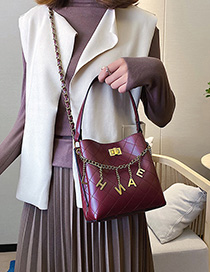 Fashion Red Lingge Chain Tassel Crossbody Shoulder Bag