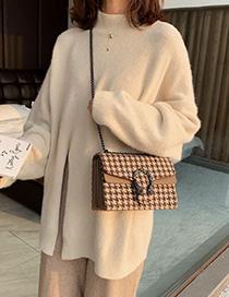 Fashion Khaki Houndstooth Woolen Chain Shoulder Messenger Bag