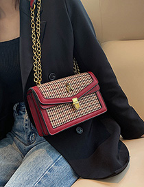 Fashion Red Stitched Lattice Chain Shoulder Bag