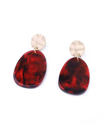 Fashion Elliptical Red Acetate Geometric Round Earrings