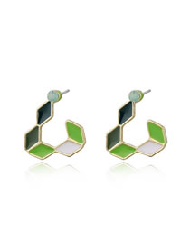 Fashion Green Small Hollow Triangular Colored Earrings Resin Ear