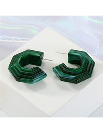 Fashion Green Acrylic C-shaped Textured Earrings