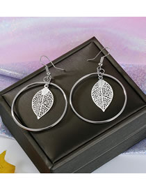 Fashion Silver Round Openwork Leaf Earrings