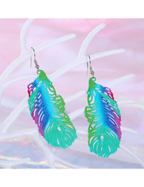 Fashion Green Color Peacock Feather Earrings