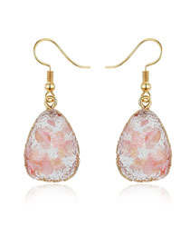 Fashion Pink Geometric Gravel Shell Earrings