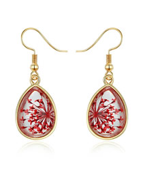 Fashion Red Water Drop Dry Flower Resin Earrings