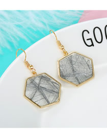 Fashion Gray Irregular Line Messy Hexagonal Earrings