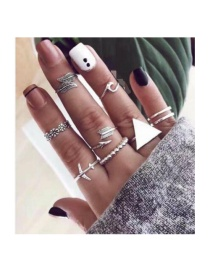 Fashion Silver Flower Leaf Feather Triangle Ring 8 Piece Set