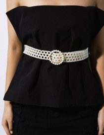 Fashion White Geometric Woven Imitation Pearl With Diamond Waist Chain