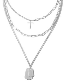 Fashion White K Chain Tag Item Multi-layer Cross Necklace