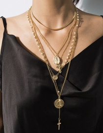 Fashion Gold Imitation Pearl Multi-layer Embossed Cross Necklace