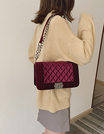 Fashion Red Gold Velvet Ribbed Chain Lock Shoulder Bag