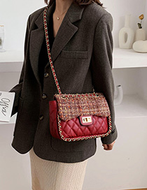Fashion Red Wrapped Ribbed Chain Diagonal Shoulder Bag