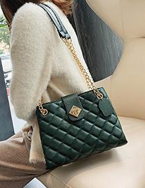 Fashion Green Pleated Chain Lock Shoulder Bag