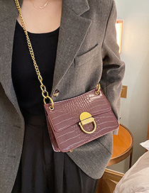 Fashion Red Wine Stone Pattern Lock Chain Shoulder Bag