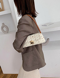Fashion Coffee Color Printed Lock Handbag