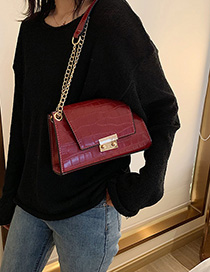 Fashion Red Wine Stone Pattern Crossbody Shoulder Bag