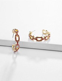 Fashion Red Alloy Chain Hollow C-shaped Oil Drop Earrings