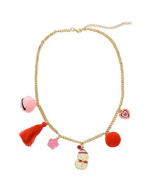 Fashion Gold Christmas Snowman Dripping Oil Bell Flower Necklace
