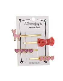 Fashion Pink Bow Elk Flower Hair Clip