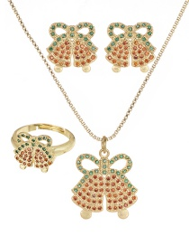 Fashion Gold Copper Inlaid Zircon Christmas Series Bell Necklace Earrings Ring Set Of 3