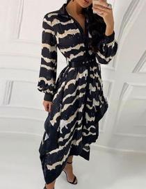 Fashion Black Wavy Printed Irregular Buttoned Hem Dress