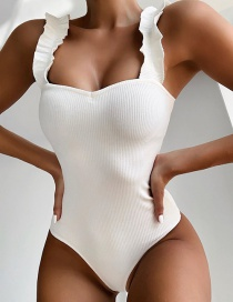Fashion White Wooden Ear Straps One-piece Swimsuit